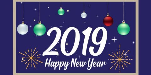 Happy New Year 2019 Card with Fireworks and Balloons Celebration
