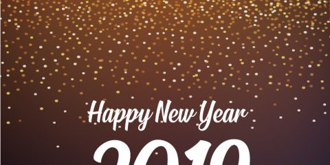 Happy New Year 2019 Card with Golden Glitter Background