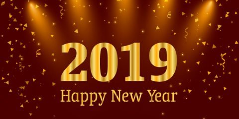 Happy New Year 2019 Card with Party Celebration Red Background