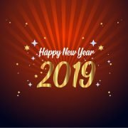 Happy New Year 2019 Card with Stars and Red Background