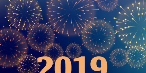 Happy New Year 2019 Celebration Background With Fireworks