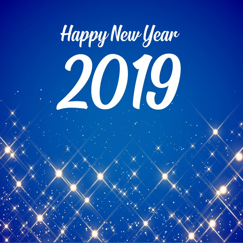 Happy New Year 2019 Celebration Card with Beautiful Blue Sparkles Background