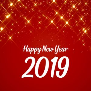 Happy New Year 2019 Celebration Card with Beautiful Red Sparkles Background