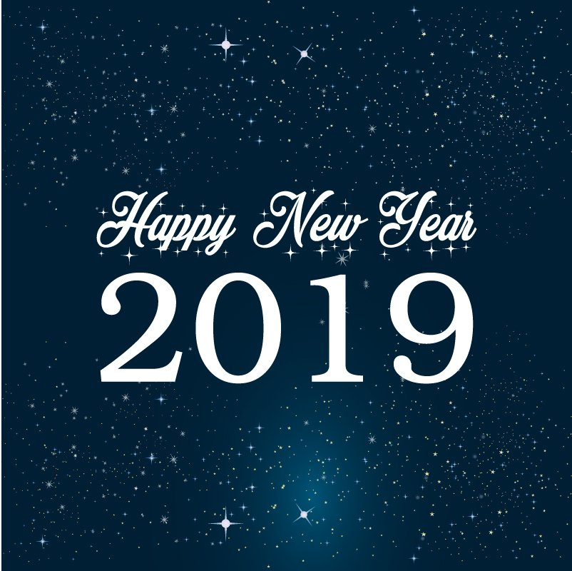 Happy New Year 2019 Celebration Card with Bright Stars