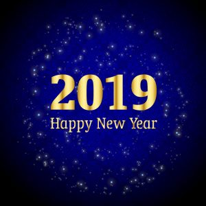 Happy New Year 2019 Celebration with Shiny Sparkles Blue Background