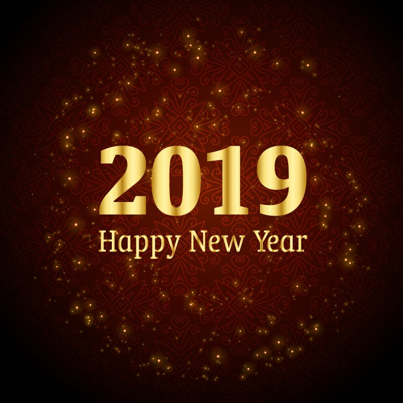 Happy New Year 2019 Celebration with Shiny Sparkles Brown Background