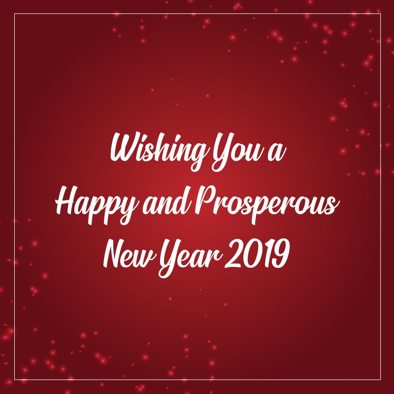 Happy New Year 2019 Vector Card with Christmas Red Background