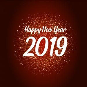 Happy New Year 2019 Vector Card with Party Celebration Background