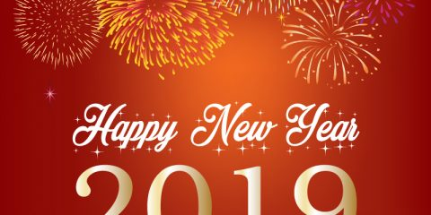 Happy New Year 2019 with Sparkling Fireworks Background