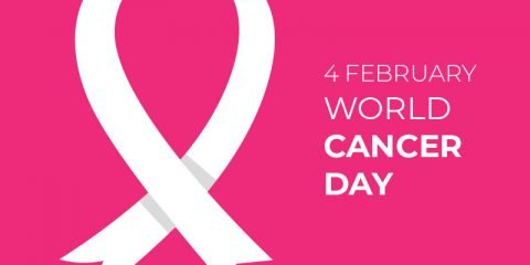 World Cancer Day Vector Card Design with Pink Background