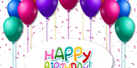 Colorful Balloons with Happy Birthday Card Design Vector Download