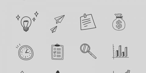 16 Hand Drawn Business Icons Design Free PSD Download