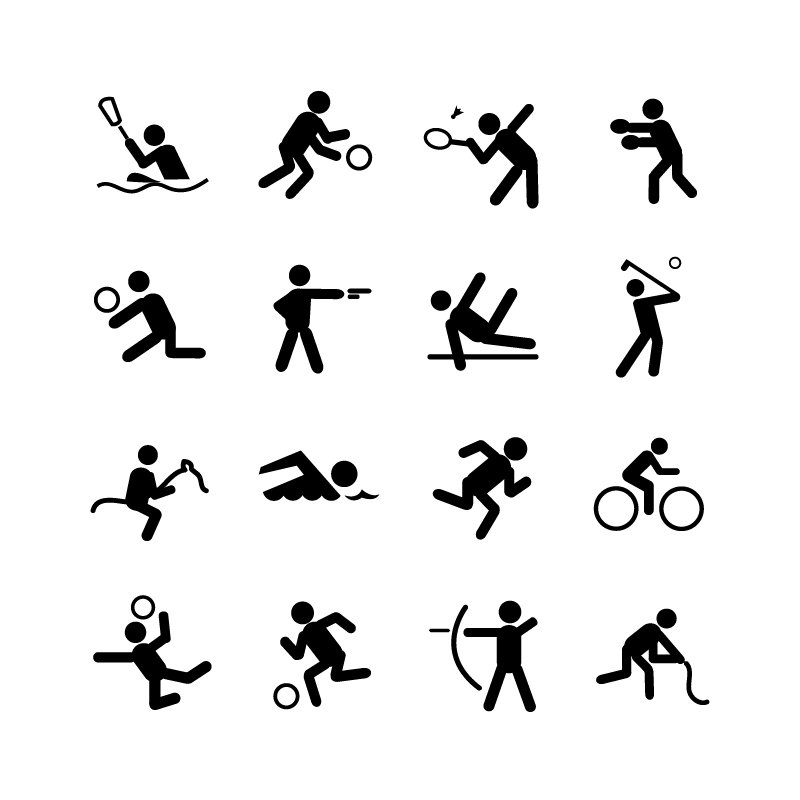 16 Sports Icons Collection Free Vector Download