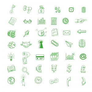 40+ Hand Drawn Business Icons Design Free PSD Download