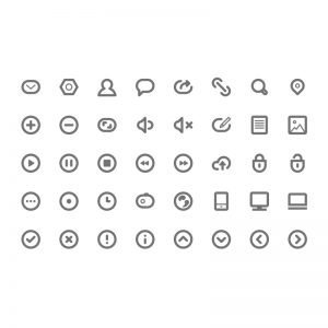 40 Minimalistic Icons Collection Free PSD Download
