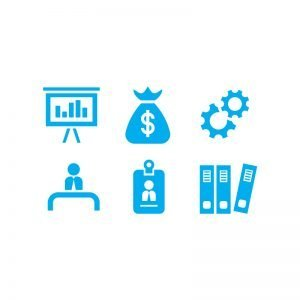 6 Silhouette Business Icon Vectors Collection Design