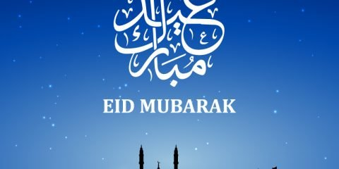 Eid Mubarak Card with Mosque and Blue Background Design