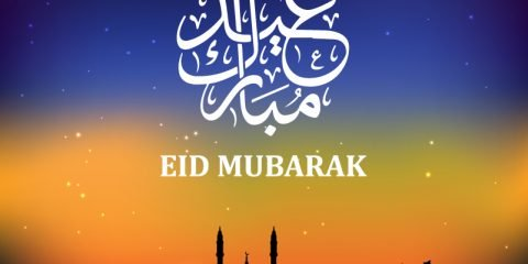 Eid Mubarak Card with Mosque and Gradient Background Design