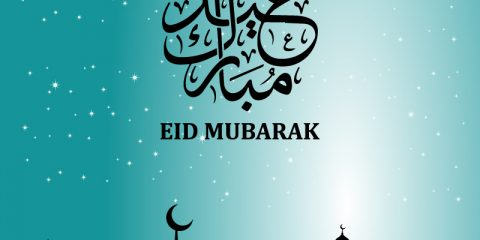 Eid Mubarak with Mosque Greeting Card Free Vector Design