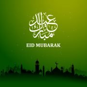 Green Eid Mubarak Card Design Free Vector Download