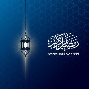 Ramadan Kareem Banner with Beautiful Lantern Design Free Vector