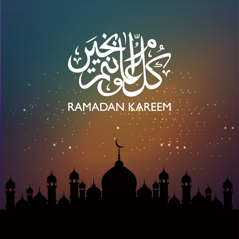 Ramadan Kareem Greeting Dark Banner Design Free Vector