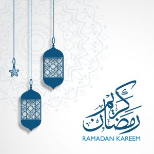 Ramadan Kareem Greeting with Islamic Shape Background