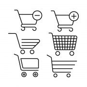 Supermarket Cart Line Icons Free Vector Collection Design