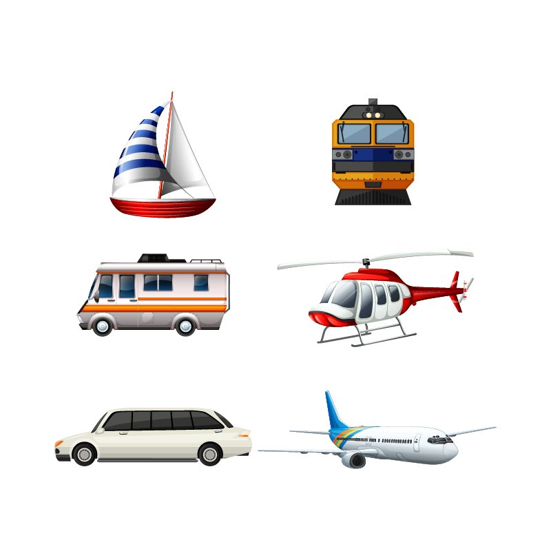 Transportation Colorful Icons Collection Design Free Vector