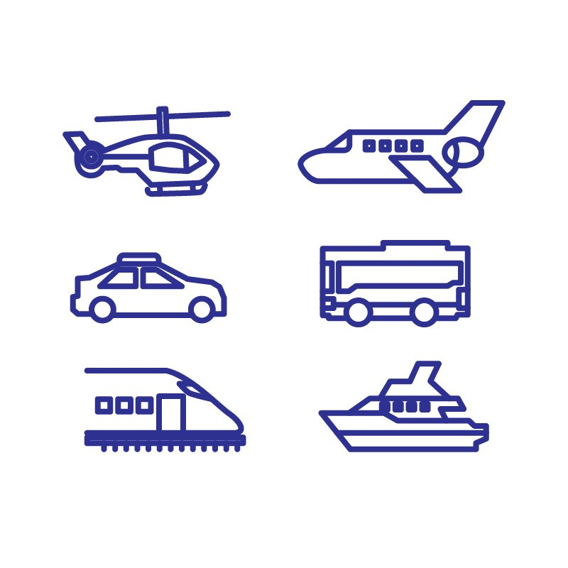 Transportation Line Icons Collection Design Free Vector