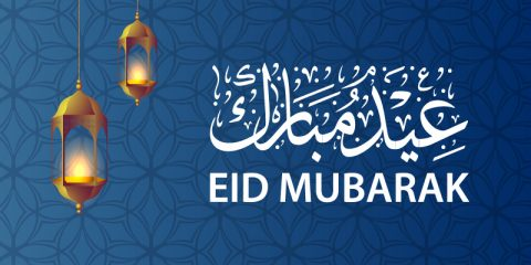Download Free Eid Mubarak Card with Lantern Vector Design