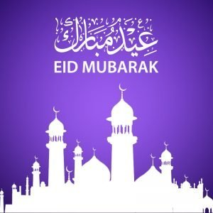 Eid Mubarak Card Design with Beautiful Mosque Vector