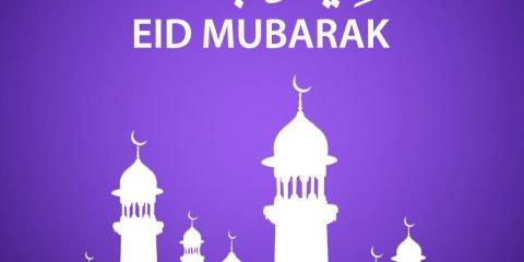 Eid Mubarak Card Design with Beautiful Mosque Vector