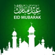 Eid Mubarak Card Design with Beautiful Mosque & Green Background