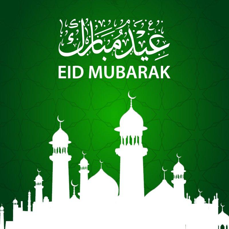 Eid Mubarak Card Design with Beautiful Mosque & Green Background