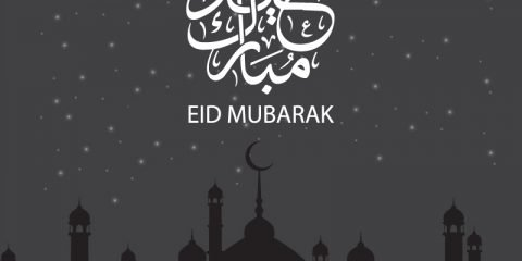 Free Vector Eid Mubarak Card Design with Mosque and Moon