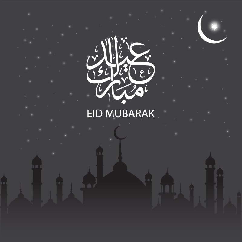 Eid Mubarak Card Design With Mosque And Moon On Gray
