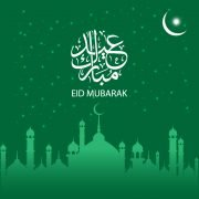 Free Eid Mubarak Card Design with Mosque and Moon