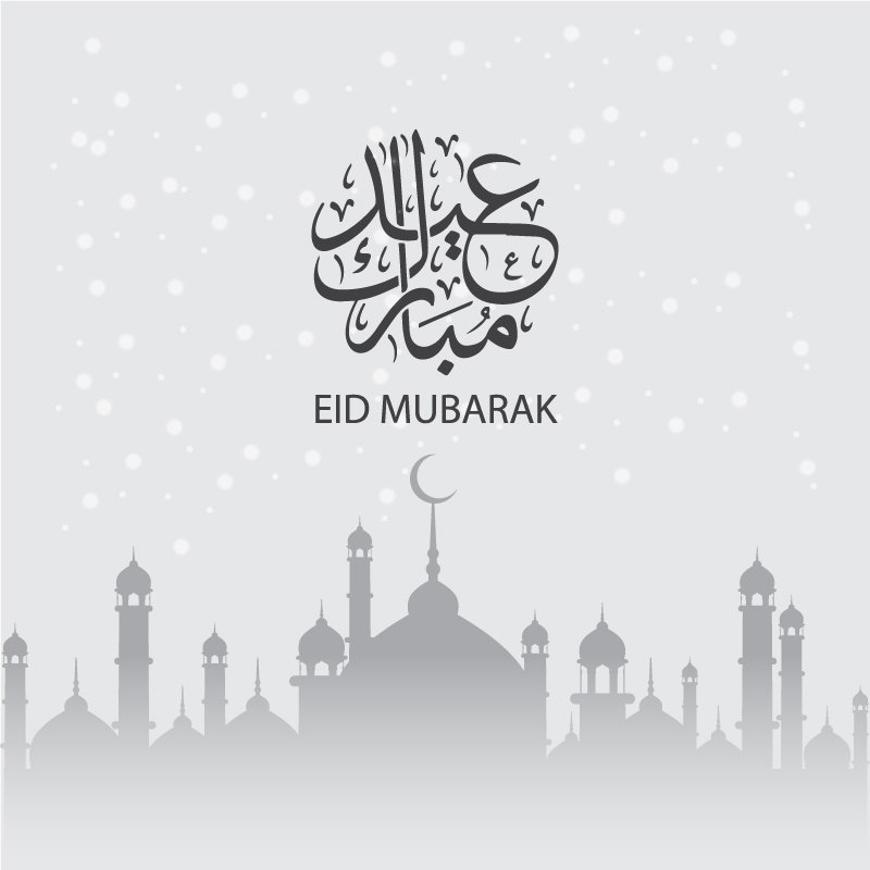 Eid Mubarak Card Design with Mosque on Light Gray Background
