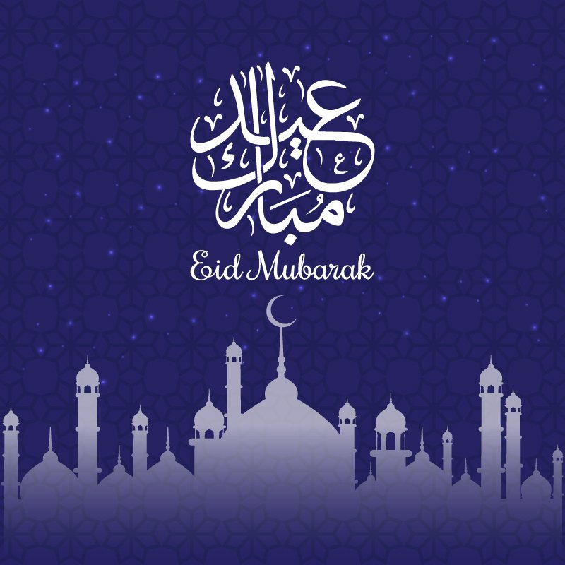 Vector Eid Greeting Card with Calligraphy in Blue Background
