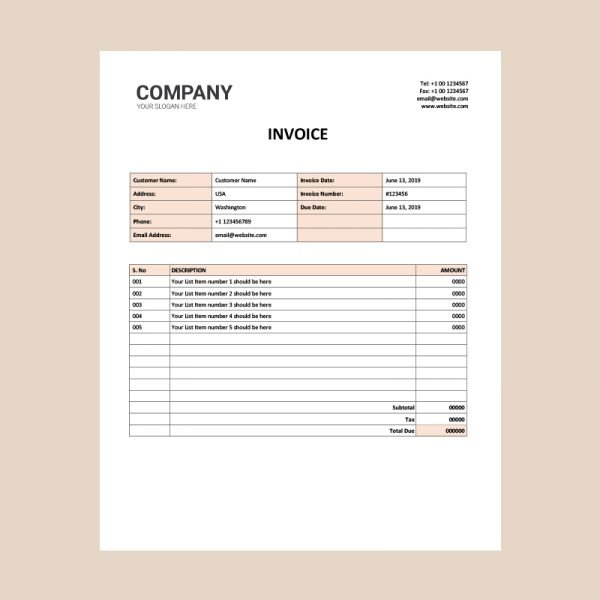 Free Word Invoice Template Download from www.graphicmore.com