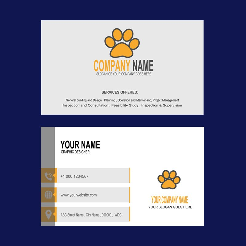 Animals Company Business Card Mockup Template Design Free PSD Download