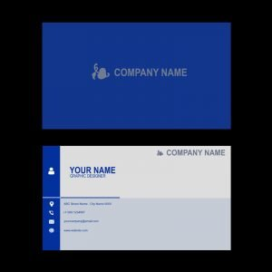 Company Professional Business Card Template Design in Blue Color