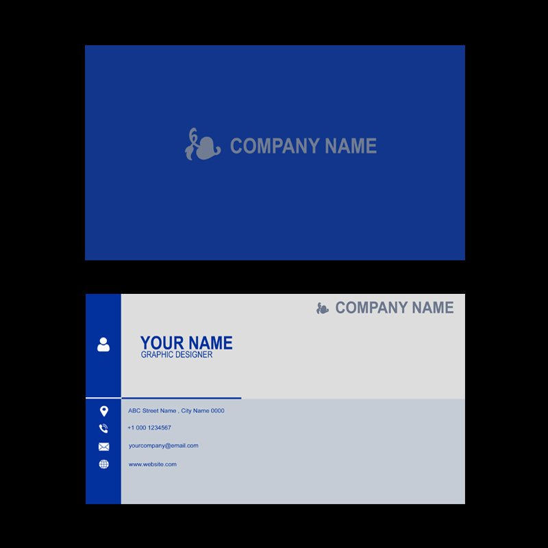 Company Professional Business Card Template Design in Blue Color Free Download