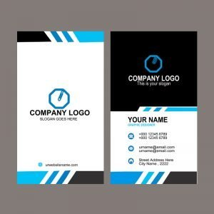 Company Vertical Business Card Template Design Free PSD Download