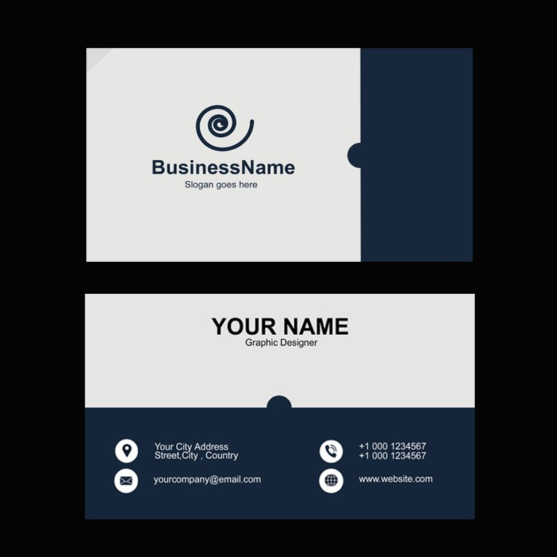 Dark Gray Company Business Card Template Design Free PSD Download