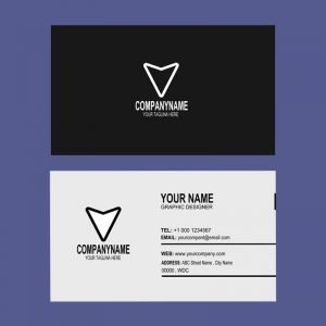 Design Company Dark Business Card Mockup Template Design Free PSD Download