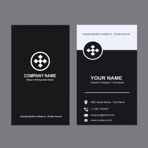Design Media Company Black Vertical Business Card Design Free PSD
