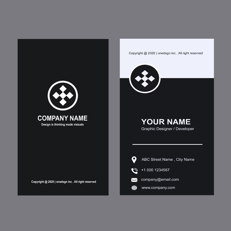 Media Company Black Vertical Business Card