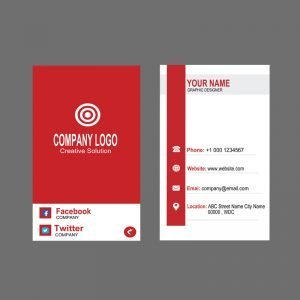Digital Design Company Vertical Red Business Card Template Design Free PSD Download